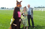 Pantomime horse race with Mayor of Elmbridge and Michael Aspel