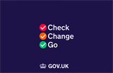 Brexit transition - check, change, go on blue background