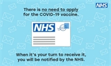 NHS will contact you for your vaccination - envelope on blue background