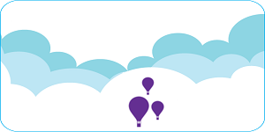 graphic of clouds and hot air balloons