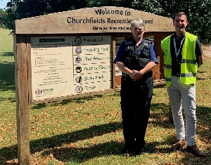 Image of Community Safety Officer and Police Officer in Churchfields Recreation Ground