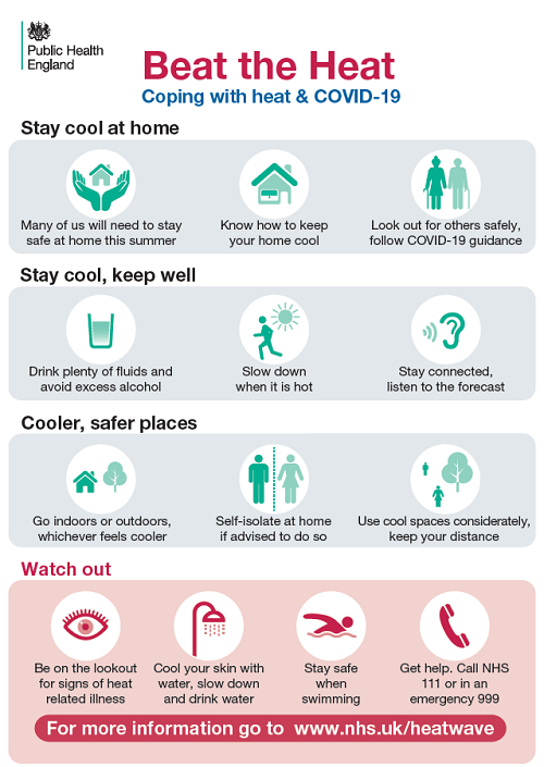 Beat the heat and Covid-19 infographic with advice